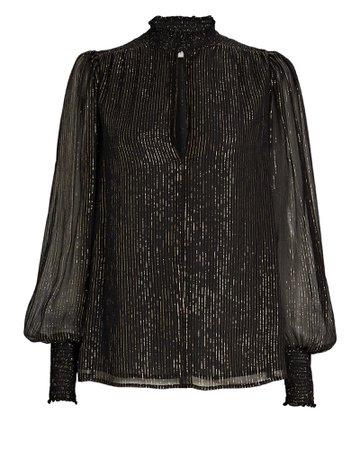 A.L.C. Silvie Lurex Striped Silk Chiffon Blouse | INTERMIX®