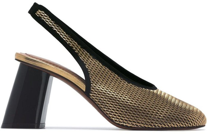 Metallic gold 80 netted leather slingback pumps