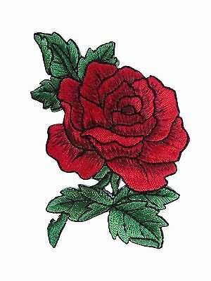 """#3720R 3 1/2"""" Red Rose Flower Embroidery Iron On Applique Patch 