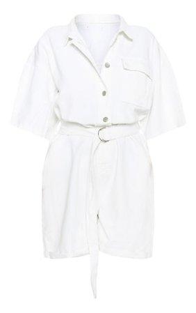 White Shorts Denim Playsuit | Denim | PrettyLittleThing