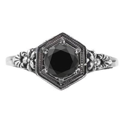 Vintage Floral Design Black Diamond Ring in 14k White Gold