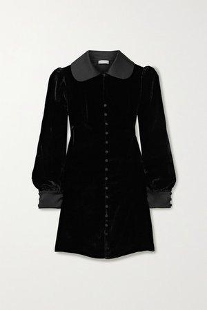 Gigi Satin-trimmed Velvet Mini Dress - Black