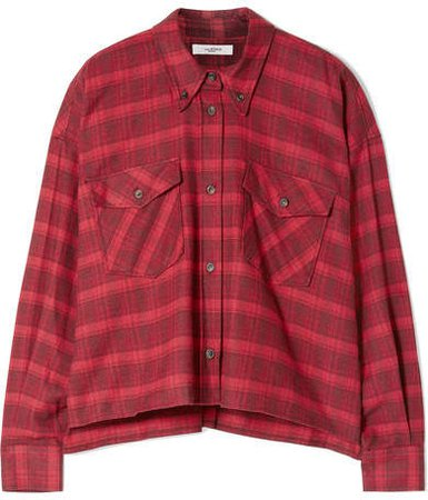 Delora Cropped Checked Cotton-flannel Shirt - Red