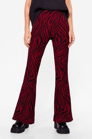 Wild Wild Love of Ours Zebra Flare Pants | Nasty Gal