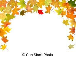 Autumn border. Autumn leaves falling border, on white background.