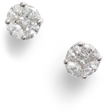 Gatsby Mixed Diamond Round Stud Earrings