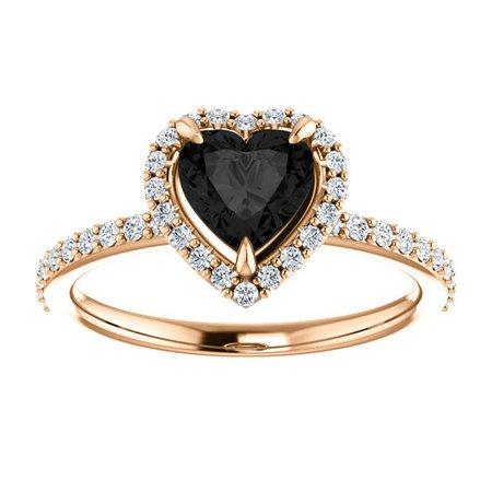 Black Diamond Heart Shape Halo Engagement Ring 14k Rose Gold | Etsy