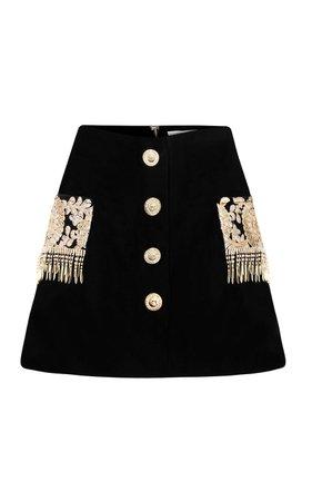 Embroidered Velvet Mini Skirt by Raisa Vanessa | Moda Operandi