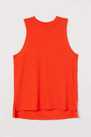 Ribbed Sports Tank Top - Orange
