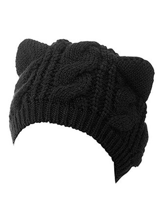 Choies Women's Acrylic Cat Ears Knit Black Beanie Hat