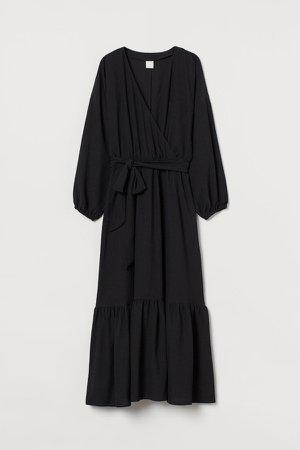 Long Wrap Dress - Black
