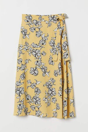 Patterned Wrap-front Skirt - Yellow