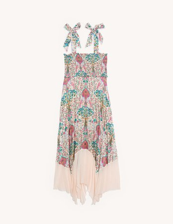 Long pleated print dress - Dresses | Sandro Paris
