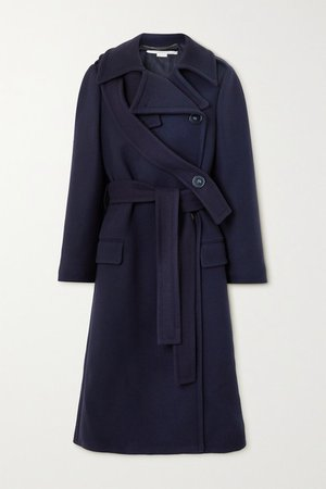 Belted Double-breasted Wool Coat - Navy