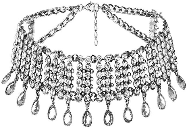 Amazon.com: Victray Crystal Necklace Tassel Choker Neck Chain Rhinestone Necklaces Fashion Jewelry Accessory for Women and Girls (Silver): Clothing, Shoes & Jewelry