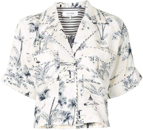 Silk Floral Cropped Blouse
