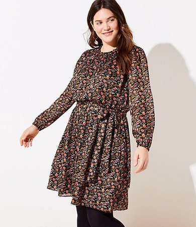 Plus Shimmer Floral Ruffle Flare Dress
