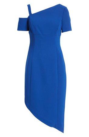 Shani One-Shoulder Asymmetrical Crepe Sheath Dress | Nordstrom
