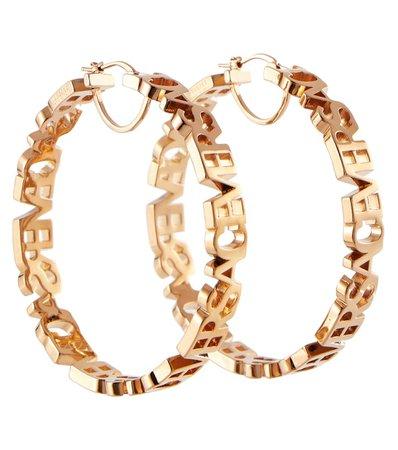Versace - Logo hoop earrings   Mytheresa