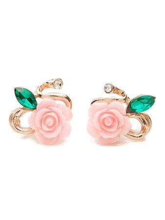 Rose Design Rhinestone Stud Earrings