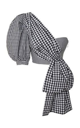 Marita Gingham One-Shoulder Cotton-Poplin Top
