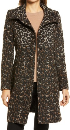 Wool Print Long Coat