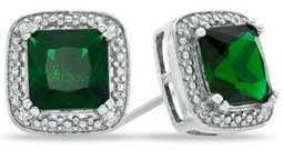 zales emerald earrings green dark forest silver white gold sterling platinum jewel jewelry gem gemstone earring earrings stud