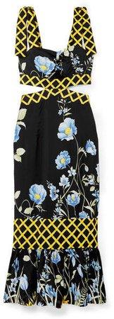 Flower Girl Cutout Floral-print Crepe De Chine Midi Dress - Black
