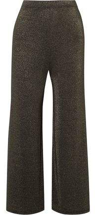 Sid Neigum Cropped Metallic Stretch-jersey Wide-leg Pants