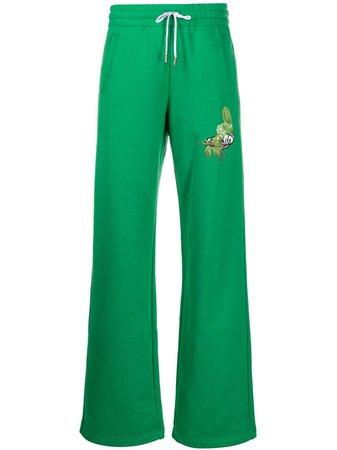 Green Off-White Logo Printed Track Trousers   Farfetch.com