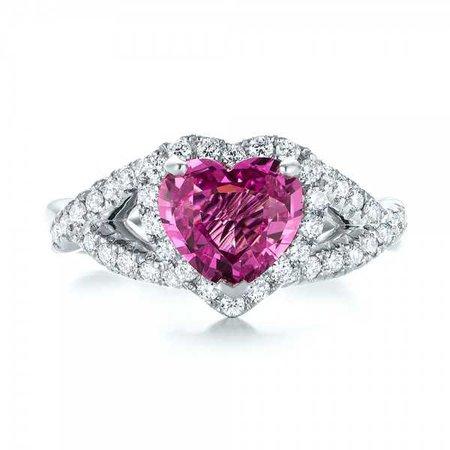Custom Pink Sapphire and Diamond Halo Engagement Ring #103621