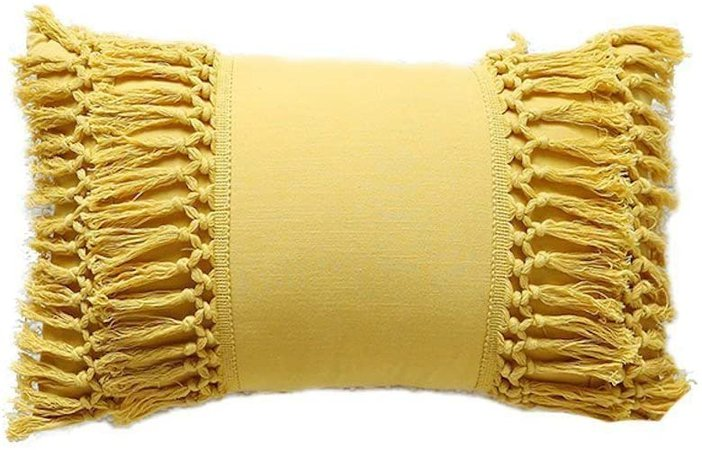 "Amazon.com: Tassel Throw Pillow Mustard Yellow Cotton Pillowcase Cushion Covers ,12""X20"": Home & Kitchen"