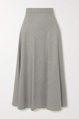 The Ada Houndstooth Wool Midi Skirt - Gray