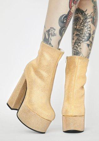 Rhinestone Platform Ankle Boots - Gold | Dolls Kill