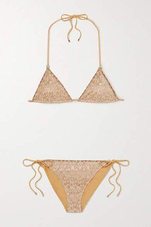 Mare Metallic Crochet-knit Triangle Bikini - Gold