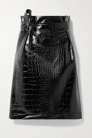 Belted Croc-effect Vegan Patent-leather Skirt - Black