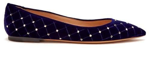 Rockstud Spike Velvet Point Toe Flats - Womens - Navy
