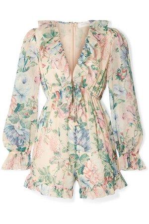 Zimmermann | Verity ruffle-trimmed floral-print cotton and silk-blend chiffon playsuit | NET-A-PORTER.COM