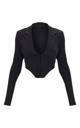 *clipped by @luci-her* Black Disco Pointed Hem Long Sleeve Corset   PrettyLittleThing USA