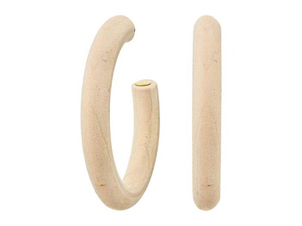 "Kenneth Jay Lane Ivory Wood ""C"" Shape Pierced Hoop Earrings"