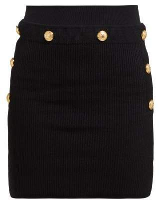 High Waisted Ribbed Knit Skirt - Womens - Black