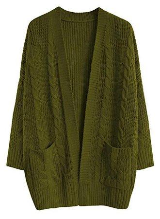 FUTURINO Women's Cable Twist School Wear Boyfriend Pocket Open Front Cardigan Popcorn Sweaters at Amazon Women's Clothing store