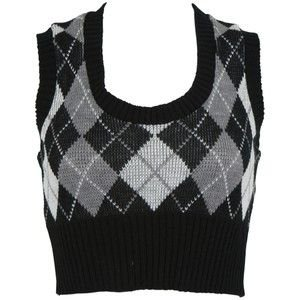 Charlotte Russe - Casual Tops: Vest: Argyle Crop Sweater