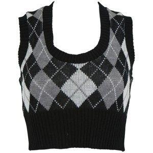 Charlotte Russe - Casual Tops: Vest: Argyle Crop Sweater