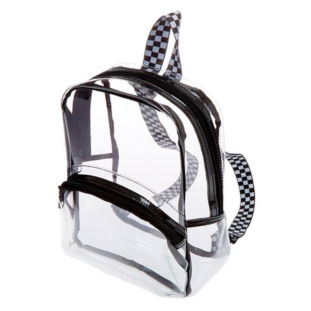 Black Trim Midi Backpack - Clear | Claire's
