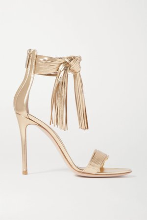 Gold 105 fringed metallic leather sandals   Gianvito Rossi   NET-A-PORTER