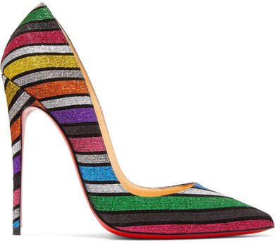 So Kate 120 Striped Glittered Suede Pumps - Metallic
