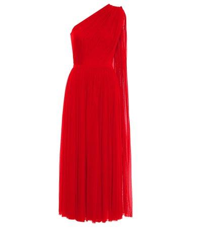 Alexander McQueen, One-shoulder tulle midi dress