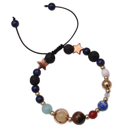 Cute Ethnic Cosmic Galaxy Beaded Bracelet Star Natural Stone Bracelet Women Solar System Bracelet - NewChic