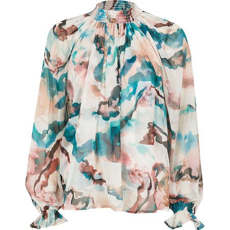 Pink floral high neck ruched blouse top   River Island